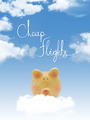 "Piggy bank on a cloud with ""cheap flights ""text and blue sky - PhotoDune Item for Sale"