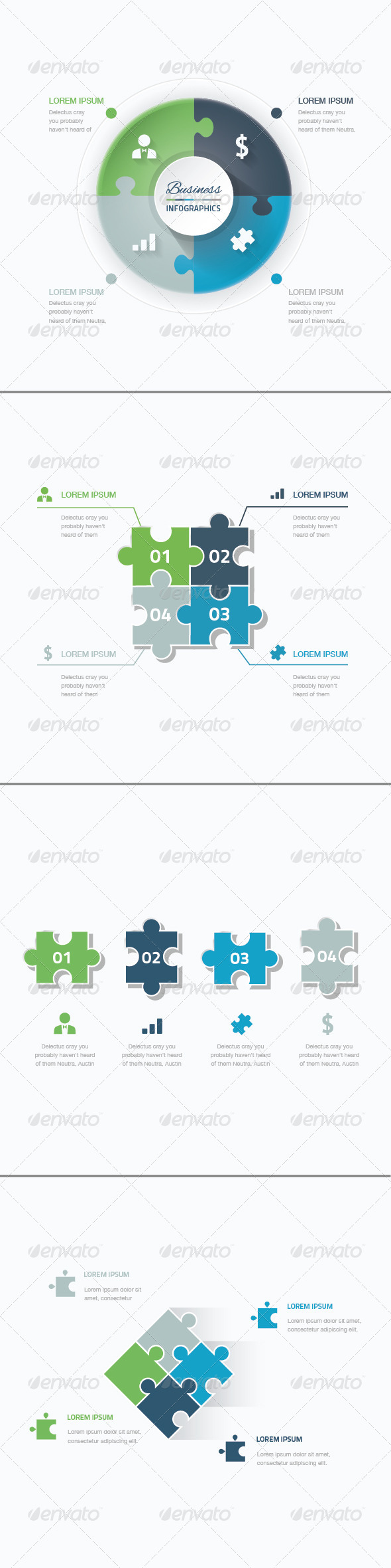 GraphicRiver Set of Puzzle Pieces Vector Infographic Templates 8376436