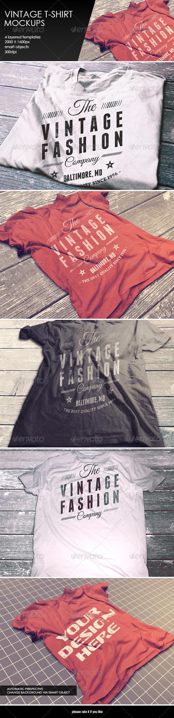 GraphicRiver Vintage T-Shirt Mockup 8376796