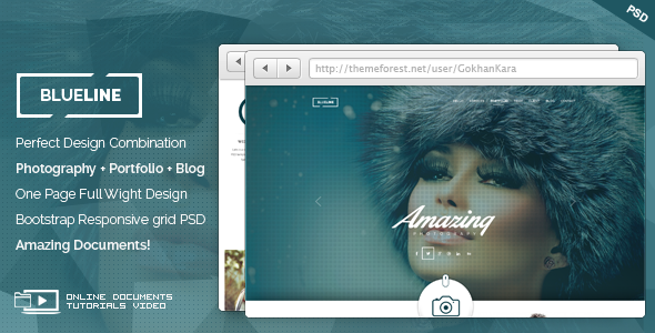 BlueLine - Onepage Photography Portfolio Theme