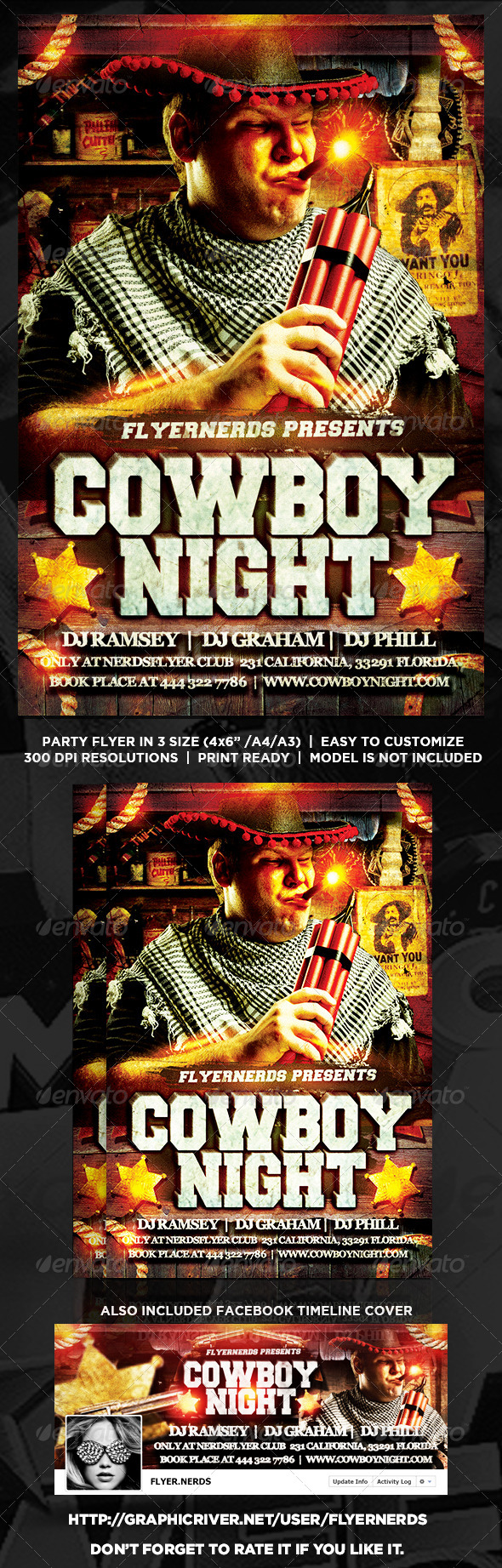 GraphicRiver Cowboy Night Party Flyer 8377540