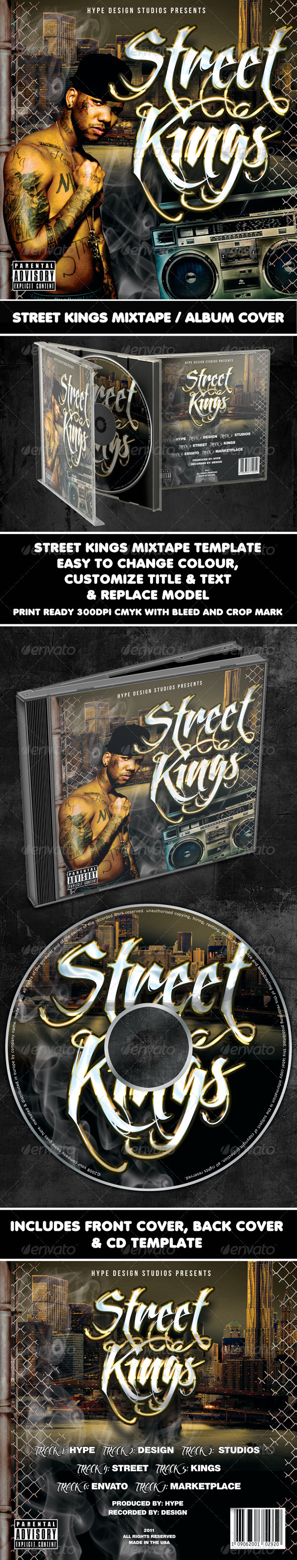GraphicRiver Street Kings Mixtape CD or Flyer Template 852416