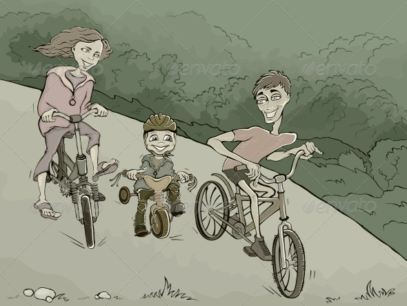 GraphicRiver Family on Bikes 8377611