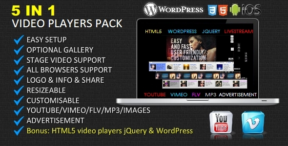5 in 1 Video Players - HTML5/Youtube/Vimeo/Flv/Ads - ActiveDen Item for Sale