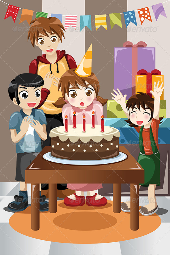 GraphicRiver Kids Celebrating Birthday Party 8385441