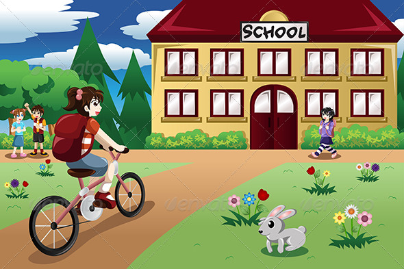 GraphicRiver Elementary Student Girl riding a Bike to School 8385704