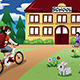 Elementary Student Girl riding a Bike to School - GraphicRiver Item for Sale