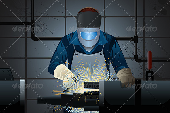 GraphicRiver Welder Working on a Machine 8386393