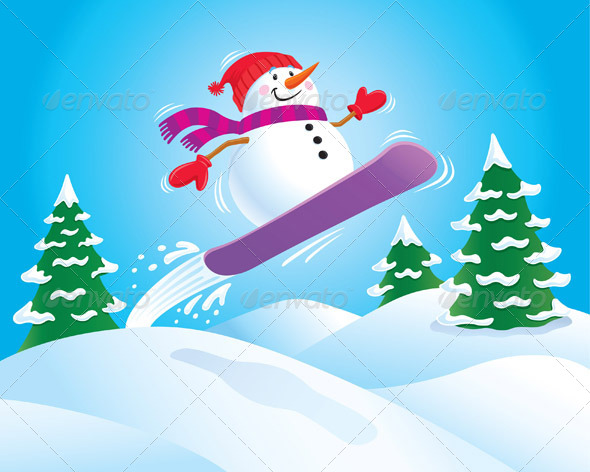 GraphicRiver Snowman on a Snowboard 8387036