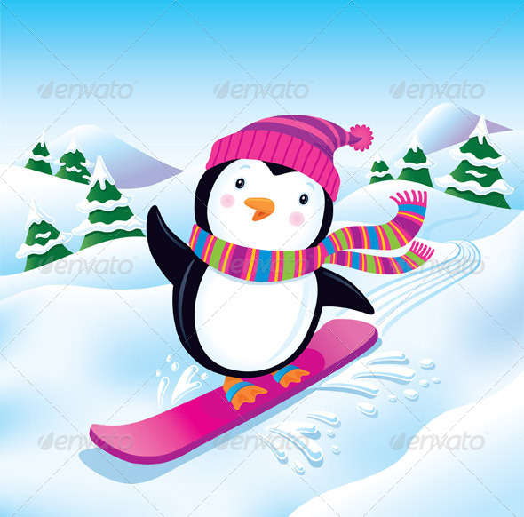 GraphicRiver Snowboarding Penguin 8387047