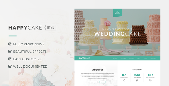 ThemeForest HappyCake Onepage Business HTML 8343794