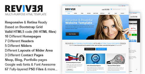 ThemeForest ReviveR Premium Multipurpose HTML Template 8276250