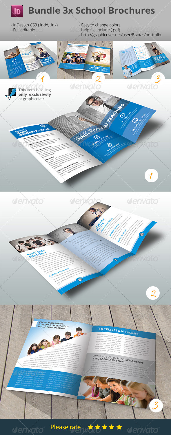 GraphicRiver School Brochures Bundle 3x 8389879