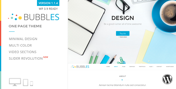 Bubbles Parallax One Page Wordpress Theme - Portfolio Creative