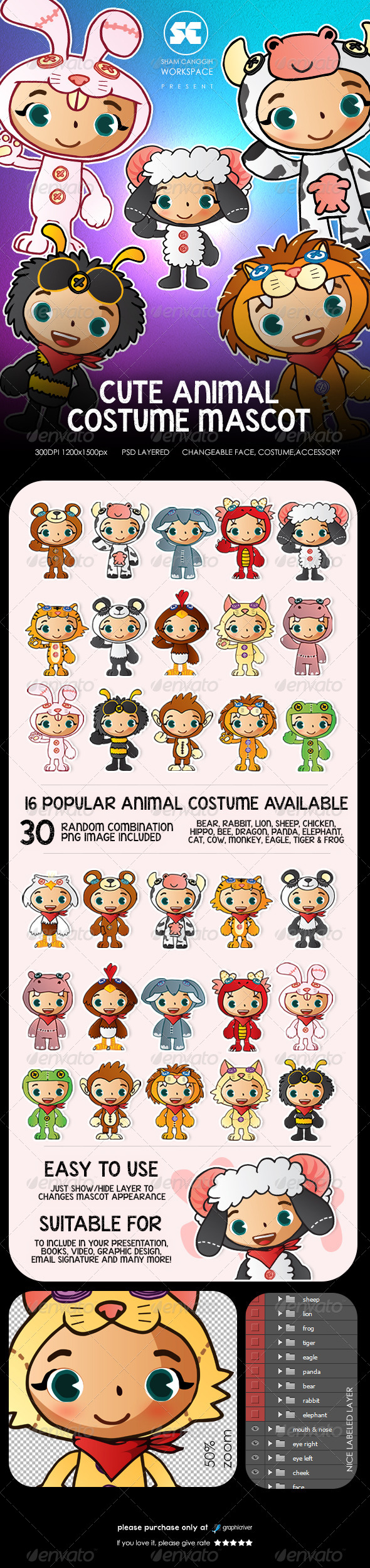 People With Cute Animal Costume Mascot - Characters Illustrations