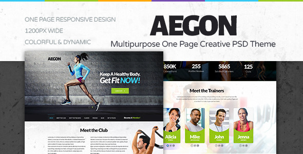 ThemeForest Aegon Fitness Club One Page Fitness PSD Theme 8390035