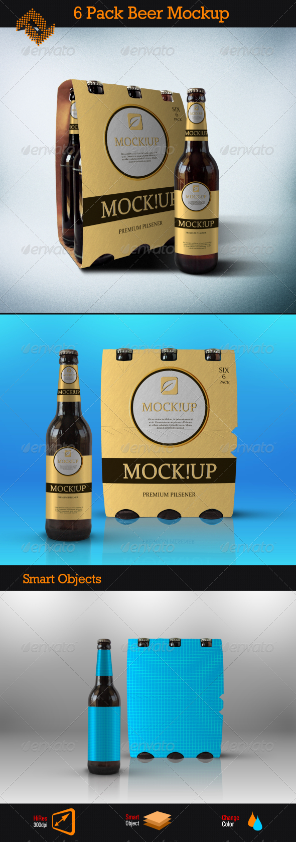 GraphicRiver 6 Pack Beer Mockup 8390108