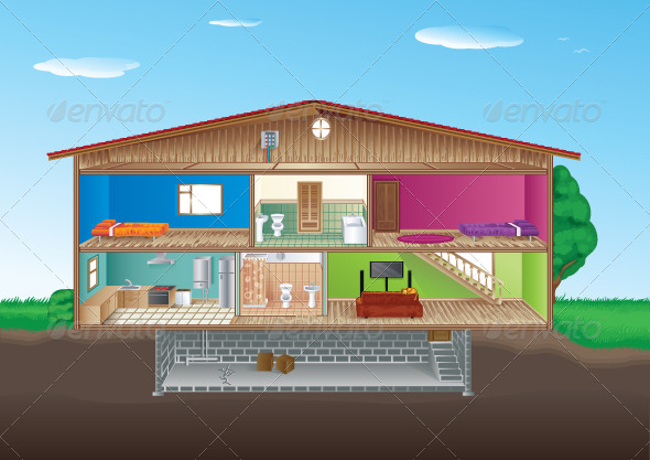 Rooms In A House Cartoon 187 Tinkytyler Org Stock Photos
