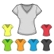 Women's V-Neck T-shirt Design Template Color Set - GraphicRiver Item for Sale