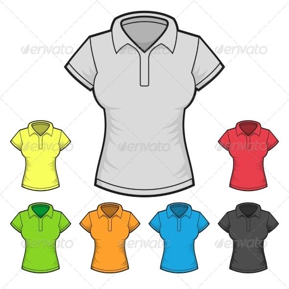 Women s Polo T-shirt Design Template Color Set