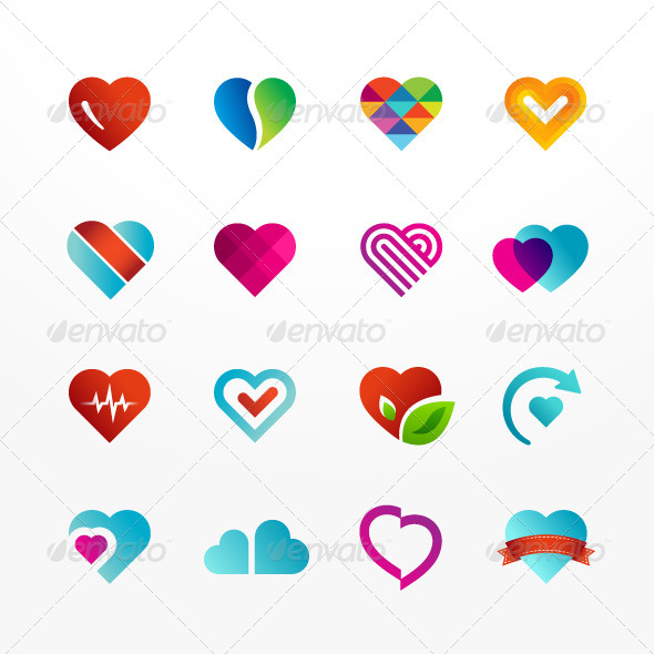 GraphicRiver Heart Symbol Icon Set 8390206