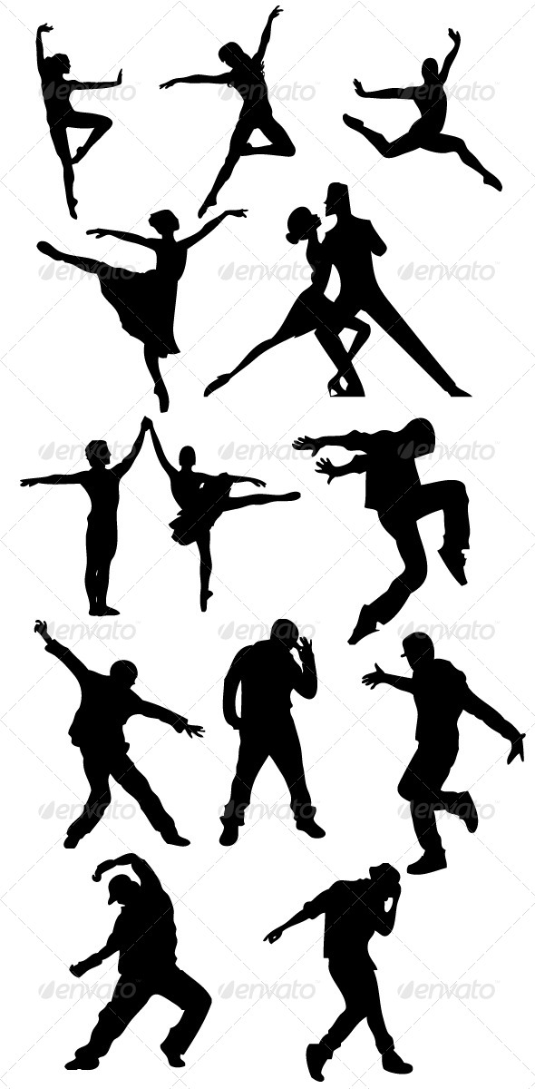 GraphicRiver Dancer Silhouettes 8390238