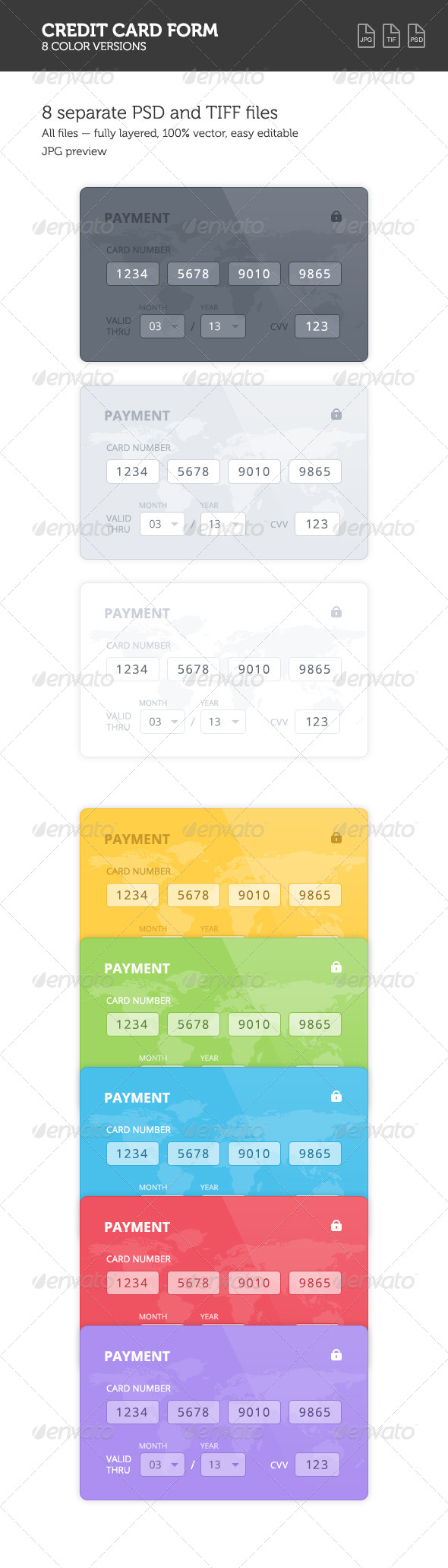 GraphicRiver Credit Card 8 Color Forms 8374092