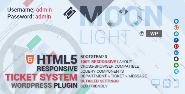 CodeCanyon MoonLight Ticket System Wordpress Plugin 8390399