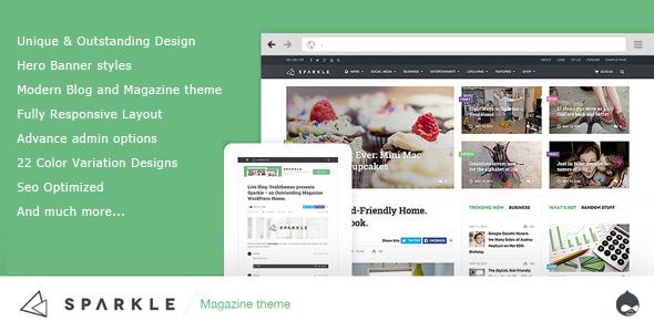 preview. large preview - Sparkle - Responsive News/Magazine Drupal theme