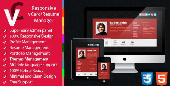 CodeCanyon Premium Responsive vCard Resume Manager 8390518