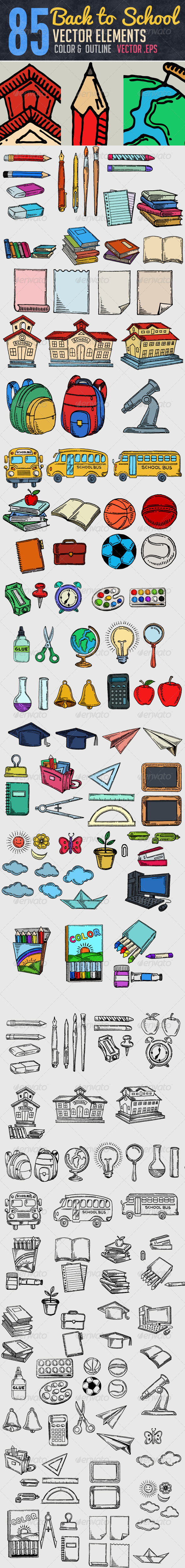 85 Hand Drawn School Elements