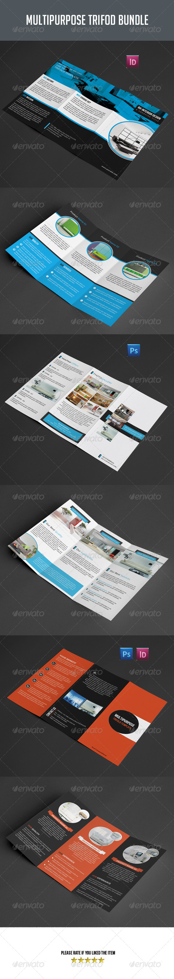 GraphicRiver 3 in 1 Multipurpose Trifold Brochure Bundle 8374249