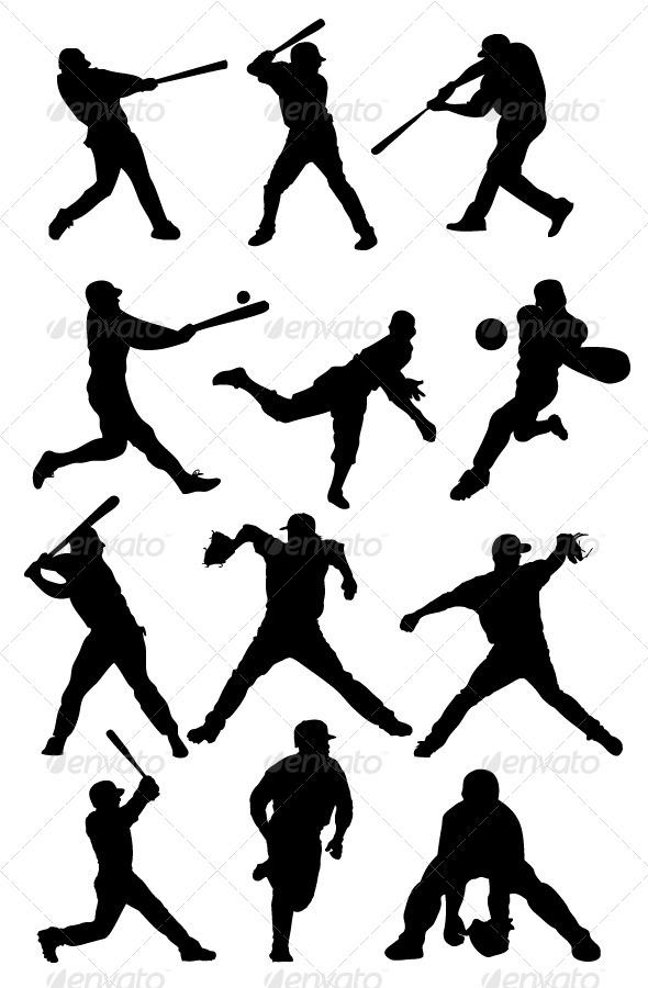 GraphicRiver Baseball Silhouettes 8390714