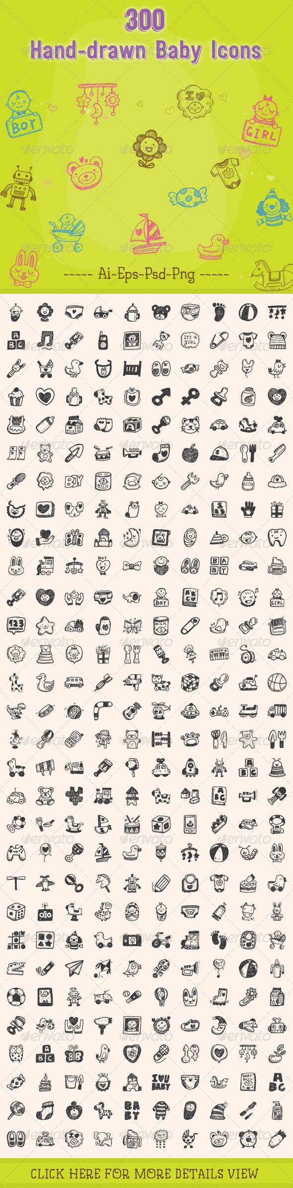 GraphicRiver 300 Hand Drawn Baby Icons 8390824