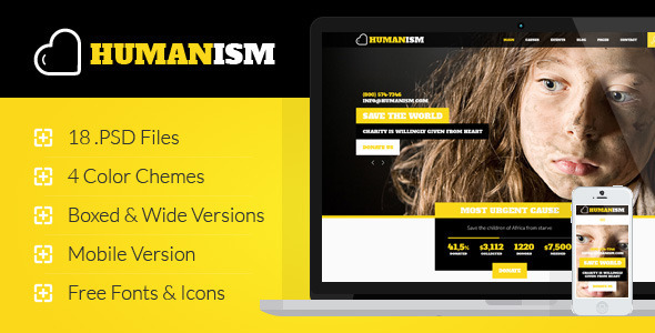 Humanism - Charity, Nonprofit PSD Theme