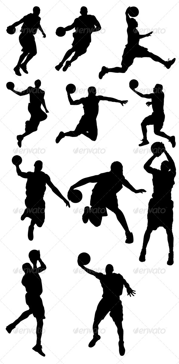 GraphicRiver Basketball Players Silhouettes 8390898