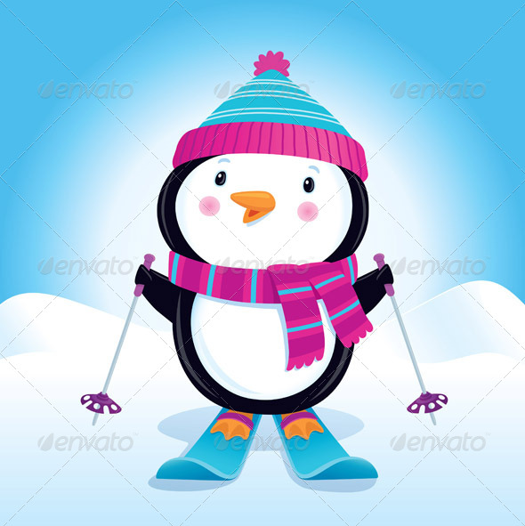 GraphicRiver Penguin on Skis 8390955