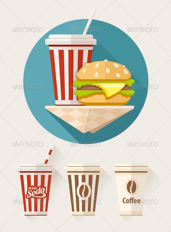 GraphicRiver Hamburger and Soda in Paper Cups 8390970