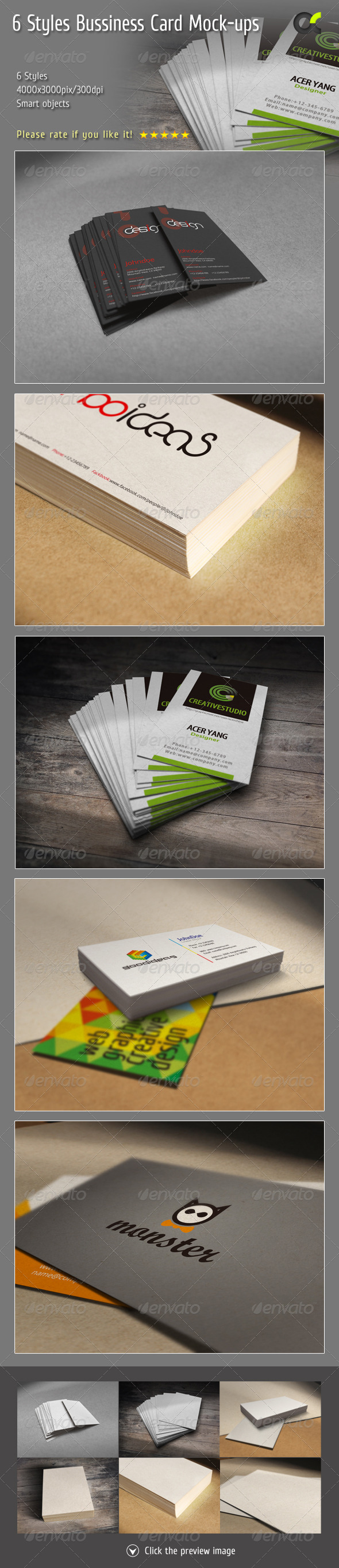 GraphicRiver 6 Styles Bussiness Card Mock-ups 8391048