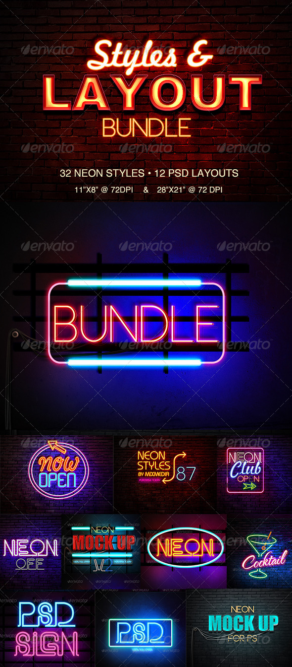 GraphicRiver Neon Styles Bundle 8391077