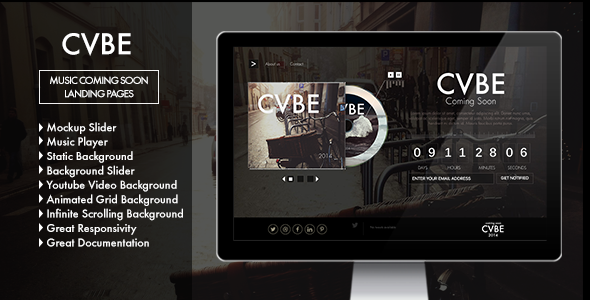 ThemeForest CVBE Coming Soon Music Landing Page 7921373