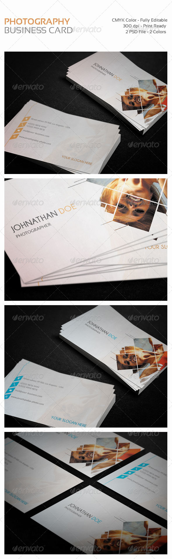 GraphicRiver Photography Personnal Business Cards 2 Colors 8391251