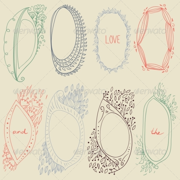 GraphicRiver Set of Circle Floral Frames 8391274