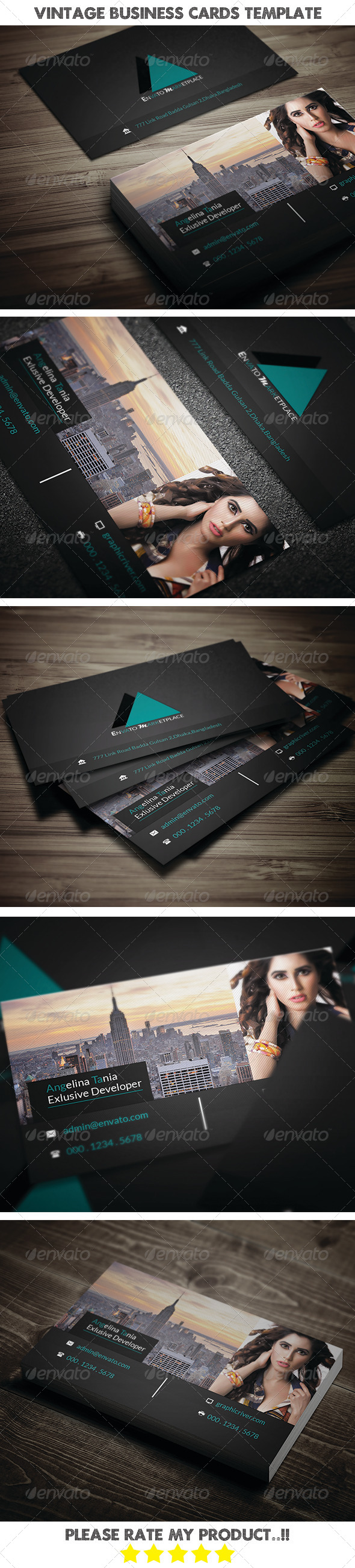 GraphicRiver Vintage Business Cards Template 8391279