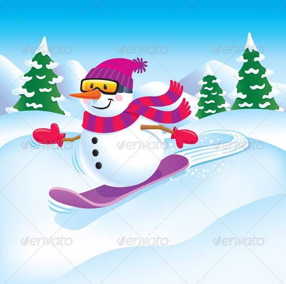 GraphicRiver Snowman Snowboarder 8391308