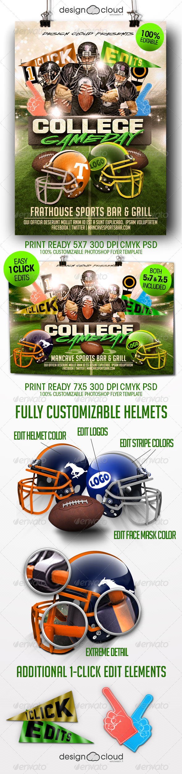 GraphicRiver College Football Game Day Flyer Template 8391322