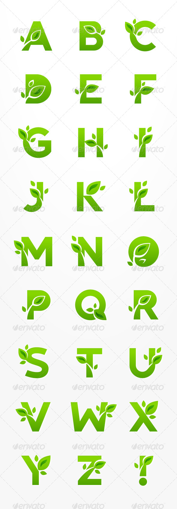 GraphicRiver Set of Green Eco Letters with Leaves 8391326