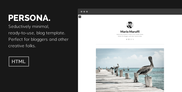 ThemeForest PERSONA Minimal HTML Personal Blog Template 8391369