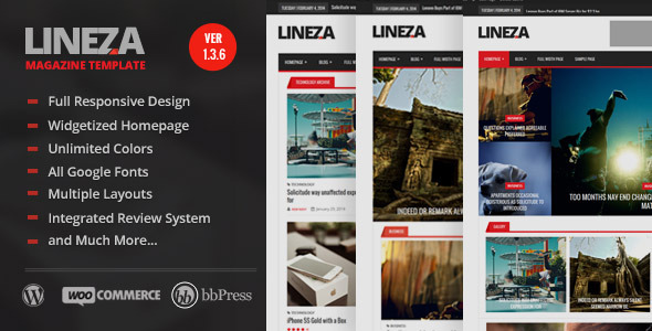 Lineza - Modern Responsive Magazine Theme - News / Editorial Blog / Magazine