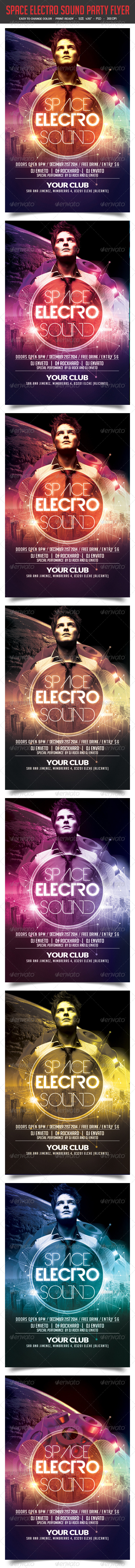 GraphicRiver Space Electro Sound Party Flyer 8391519
